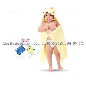 Áo/Khăn choàng tắm cho bé có nón trùm đầu và nút gài như áo khoác Mamypoko