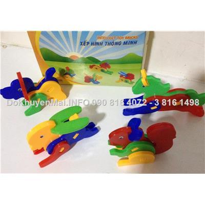 Bộ lắp ráp 4 con vật toys intelligent