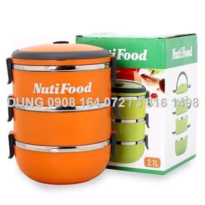 Hộp cơm inox 3 tầng NutiFood 2 lớp giữ nhiệt - màu cam