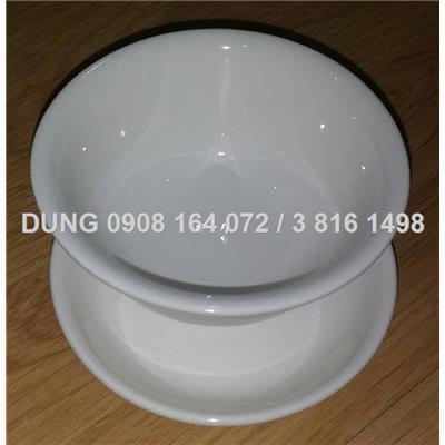 set chén và đĩa nuớc chấm bằng sứ