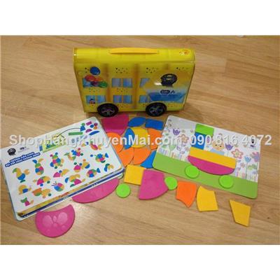Bộ đồ chơi xếp hình hộp thiếc hinh xe enfA