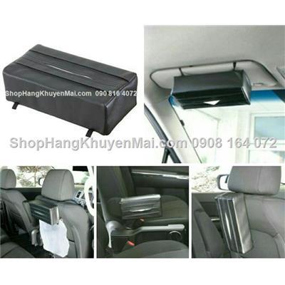Bao da đựng khăn giấy treo tiện lợi trên xe hơi