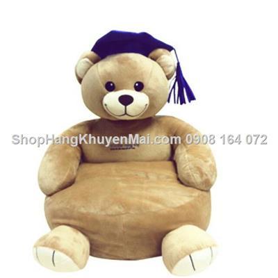 Ghế ngồi hạt xốp cho bé cho bé có tựa lưng hình Gấu IQ Abbot
