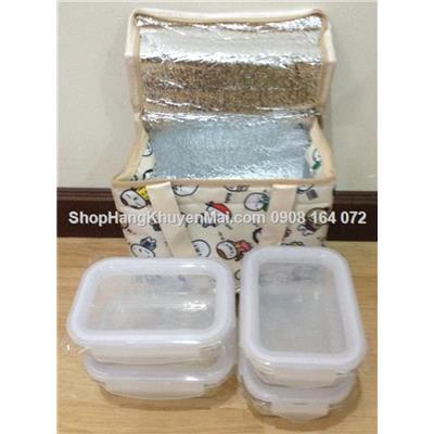 Bộ túi giữ nhiệt & 4 hộp thủy tinh chữ nhật Lock&Lock 380ml
