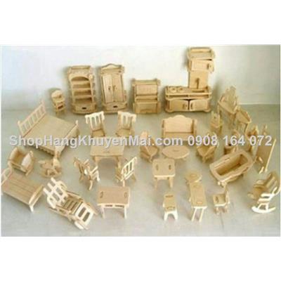 Bộ đồ chơi ghép hình gỗ nội thất mini hơn 30 món 184 chi tiết1