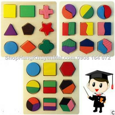 Combo 3 bảng gỗ lắp ghép khối hình học IQ cho bé