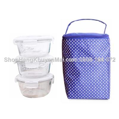 Bộ túi giữ nhiệt & 3 hộp thủy tinh tròn Lock&Lockx380ml