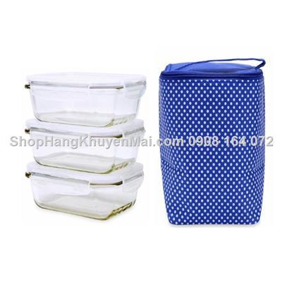 Bộ 3 hộp thủy tinh hình chữ nhật kèm túi giữ nhiệt Lock&Lock x380ml