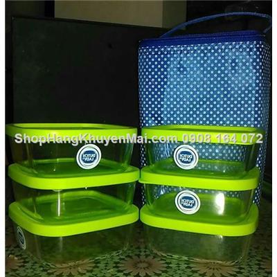 Bộ túi nhiệt & 6 hộp thủy tinh locknlock x320ml cho couple