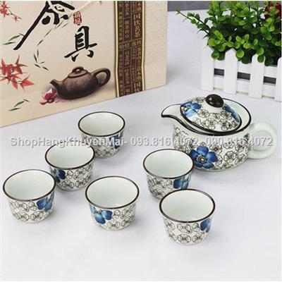 Bộ ấm chén uống trà hoa văn cổ hàng xuất Nhật cao cấp