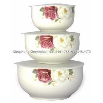 Hoa hồng-Bộ 3 âu sứ đựng thực phẩm có nắp thông hơi Nutifood