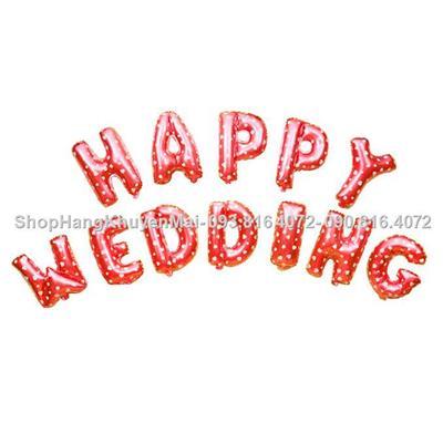 set 12 bong bóng kiếng HAPPY WEDDING