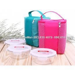 Bộ túi giữ nhiệt & 3 hộp thủy tinh tròn Lock&Lockx380ml  Bo tui giu nhiet & 3 hop thuy tinh tron Lock&Lockx380ml