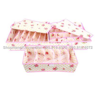 Combo 3 hộp đựng đồ lót hình hoa có nắp đậy cao cấp.