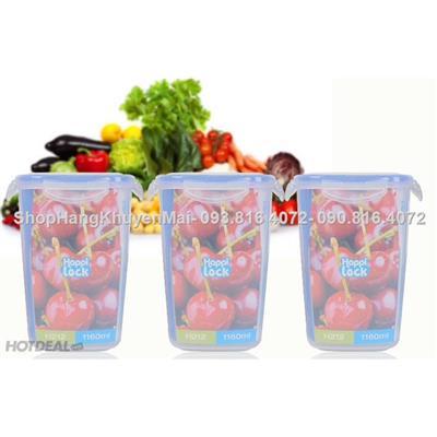03 hộp nhựa 1160ml Happi Lock đựng thực phẩm  03 hop nhua 1160ml Happi Lock dung thuc pham