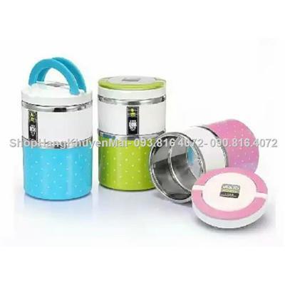 Hộp cơm giữ nhiệt 2 tầng LUNCH BOX 930ml - (hồng-xanh duong)