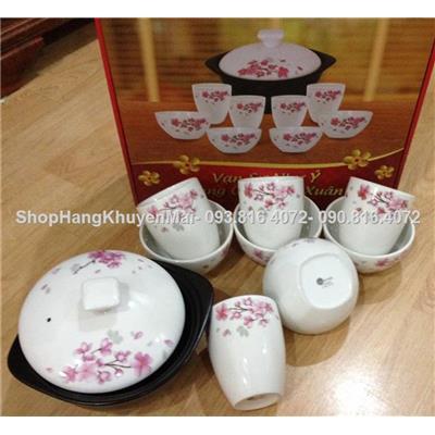 Bộ thố sứ và 4 cốc 4 bát vát chân độc đáo Hoa Đào xuân sứ Dong Hwa