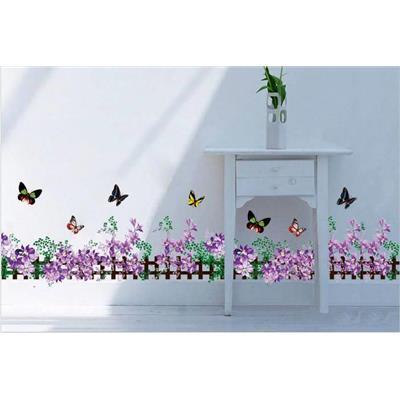 decal dán chân tường hoa tím nhỏ trang trí phòng khách 185cm x 28cm.
