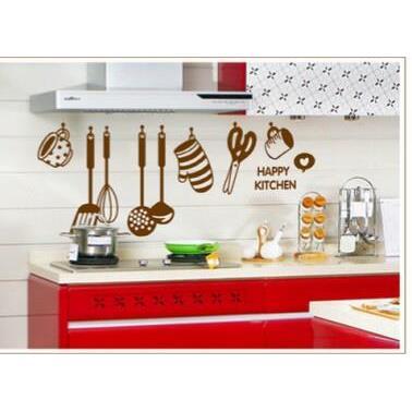 Decal dán tường Happy kitchen trang trí nhà bếp