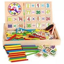 Bảng gỗ 2 mat dạy bé học toán có que tính, bảng viết và chu số