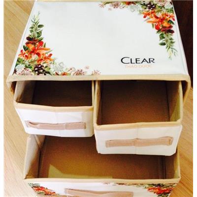 Thùng đựng đồ đa năng xếp gọn Clear 3 ngăn có hoa