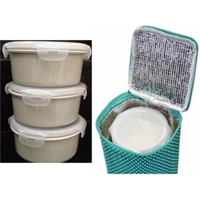 Set túi giữ nhiệt & 3 thố sứ Pastel DongHwa đựng thực phẩm