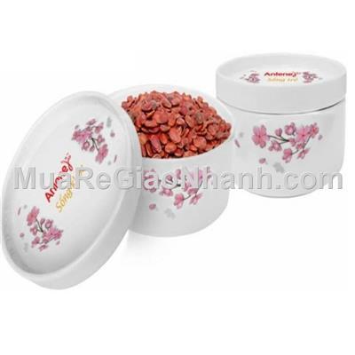 Combo 2 thố sứ hoa mai / đào có nắp đậy( Donghwa)
