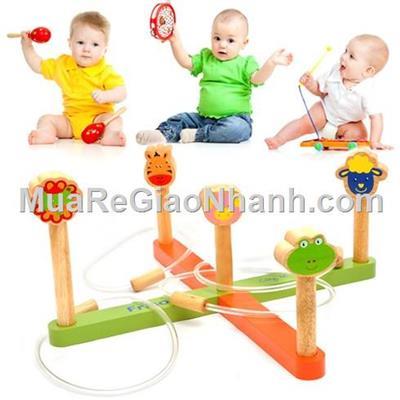 Bộ đồ chơi ném vòng bằng gỗ