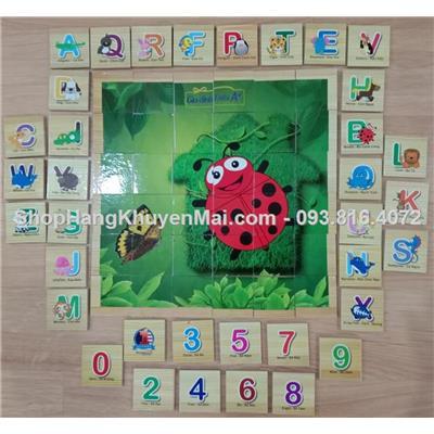 Bộ đồ chơi 24 thẻ gỗ xếp hình, học nhận biết chữ số, chữ cái Song ngữ
