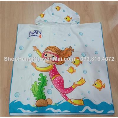 Khăn lông tắm trùm mũ nà ngủ tiên cá cho bé free 5-10 tuổi