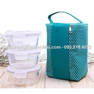 lunch Bag- set 3 hộp thuỷ tinh locknlock tròn &túi giữ nhiệt