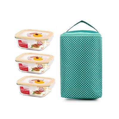 Bộ 3 hộp thủy tinh vuông cao cấp và túi giữ nhiệt