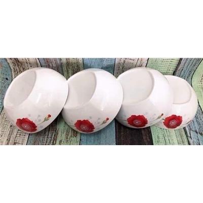 Bộ 4 tô sứ cao cấp Dong Hwa hoa đỏ red flowers
