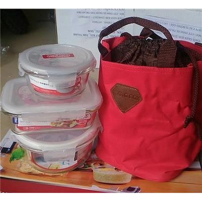 Bộ lunch bag túi giữ nhiệt và 3 hộp lock&lock thủy tinh