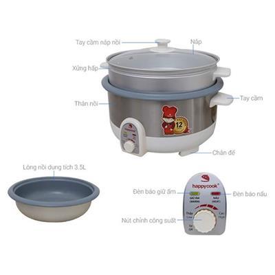 Nồi điện đa năng 3 in 1 - Lẩu - xửng hấp - Chiên chống dính Happy Cook HCHP-350ST (3.5L)