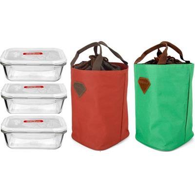 Bộ 3 Hộp Thủy Tinh chữ nhật Lock&Lock 630ml + túi giữ nhiệt living box