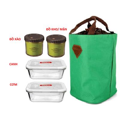 Combo túi đựng giữ nhiệt và 2 Bộ đôi hộp đựng thức ăn ECo & Lock&lock