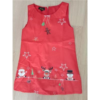 Váy chữ A satin hoạ tiết giáng sinh cho bé dưới 25 kg