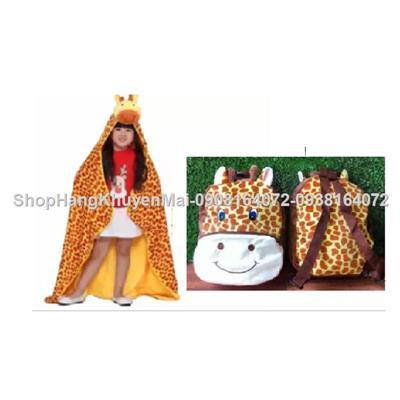 Set balo nhung và áo choàng mũ nhung hươu cao cổ cho bé