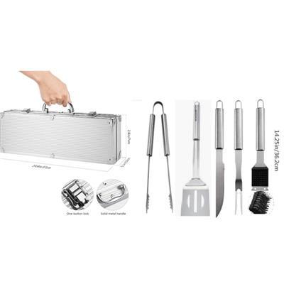 Bộ dụng cụ nướng BBQ Naterial bằng thép không gỉ có hộp đựng dùng trong nhà/khi đi cắm trại