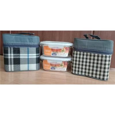 Set 2 hộp locknlock 750ml và túi giữ nhiệt phong cách Hàn quốc
