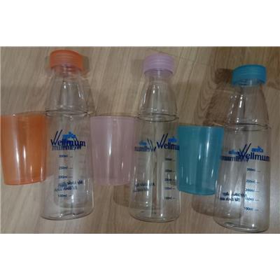 Bộ bình nước chia vạch có Ly uống (550ml)