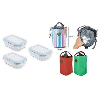 Bộ 3 Hộp Thủy Tinh chữ nhật BHX*640ml + Túi Giữ Nhiệt Living Box